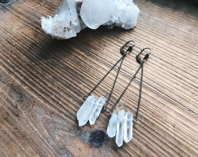 Triple Quartz Earrings // Quartz Earrings //  Crystal Jewelry // Pendulum Earrings // Brass Chain Earrings // Salame Jewelry