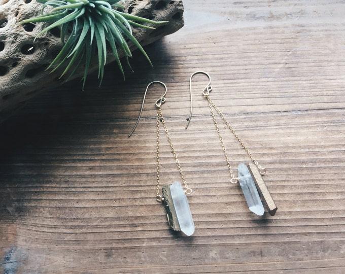 Titanium Golden Quartz Pendulum Earrings