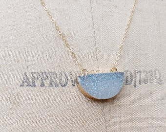 Drusy Half Moon Necklace // Gold Half Moon Necklace // AB Moon Necklace // Crystal Necklace // Gold Layering Jewelry // Bridal Jewelry //