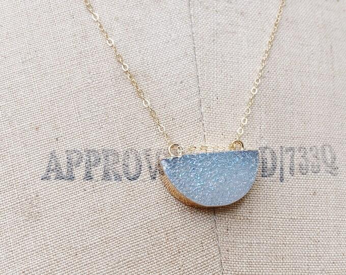 AB Drusy Half Moon Necklace