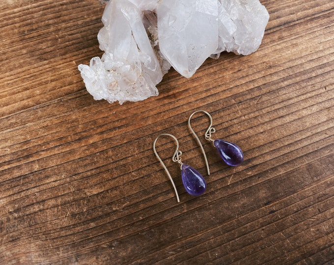 Smooth Amethyst Earrings - Create Your Own