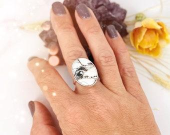 Round We Go White Buffalo Ring