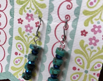 Rough turquoise blingy dangles