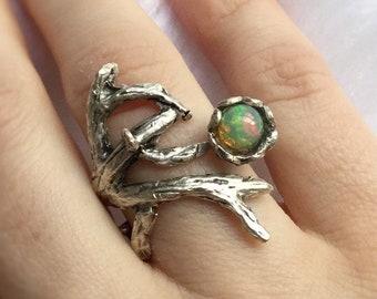 SALE Opal Branch ring, adjustable ring, genuine welo opal