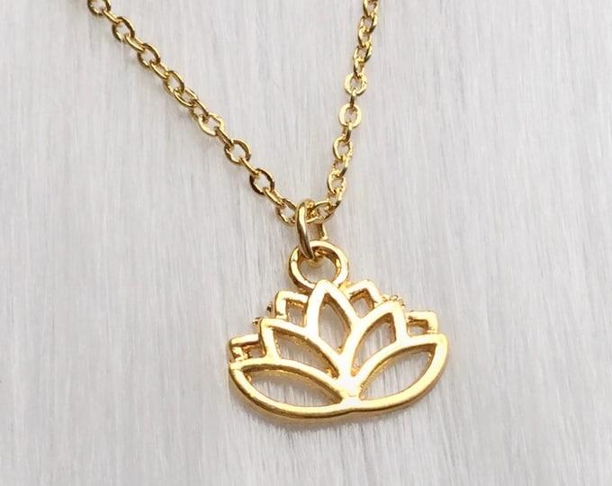 Lotus Blossom Flower necklace, dainty boho bohemian Necklace or choker