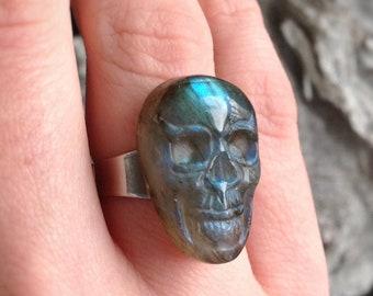 Labradorite Skull ring, YOU CHOOSE, large adjustable band