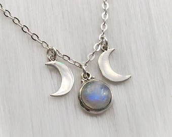 Rainbow Moonstone Triple Goddess necklace, Moon phases, made to order