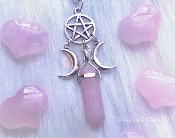 Triple Goddess Crystal point pentacle necklace, moon phases, wiccan jewelry, Amethyst, Opalite, Rose Quartz, Obsidian, you choose