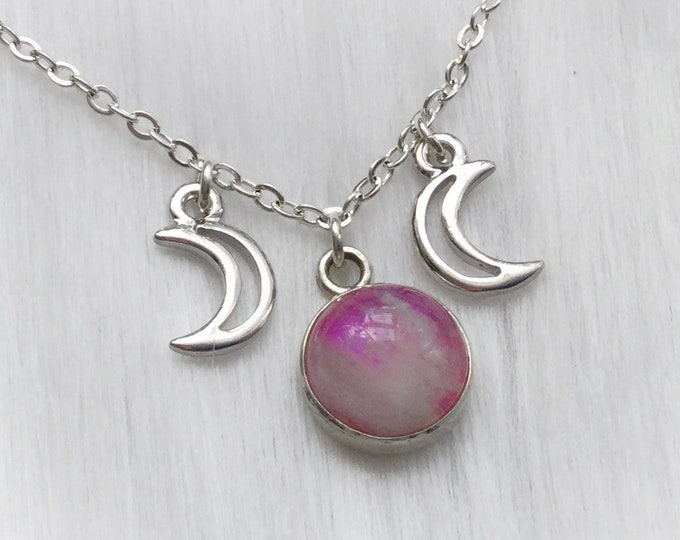 Small Pink Rainbow Moonstone Triple goddess moon phases necklace