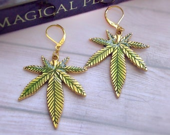 Cannabis Leaf Earrings, pot leaf, Gold and Green, weed leaf jewelry. sold per pair (leave qty as 1)