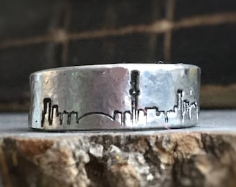Toronto City Skyline ring, Cityscape stamped on adjustable pewter ring, unisex design