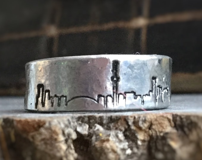 Toronto City Skyline ring, Cityscape stamped on adjustable pewter ring, unisex design