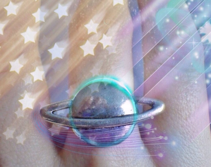 Saturn Planet adjustable ring, Space jewelry, Cronos