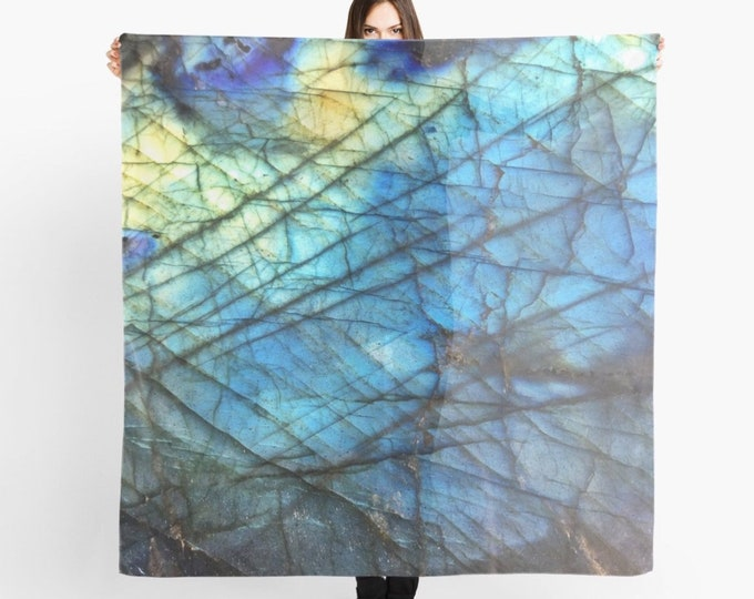 Blue Scarf, Labradorite Print, Sheer Wrap, Shawl, Altar Cloth, Gemstone Crystal print Scarf, Original design and photography by lotusfairy