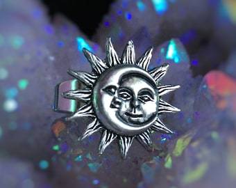 Moon and Sun ring adjustable from sizes 5-9