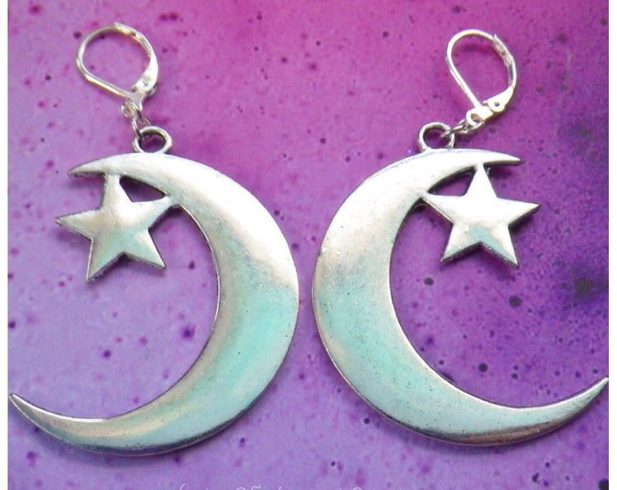 Crescent Moon and Star earrings for regular or stretched ears, sold per pair