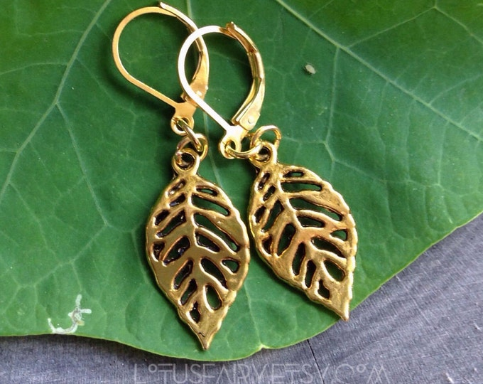 Gold Leaf Earrings, Silhouette cut out leaves, simple, (leave QTY as 1 to receive one pair)