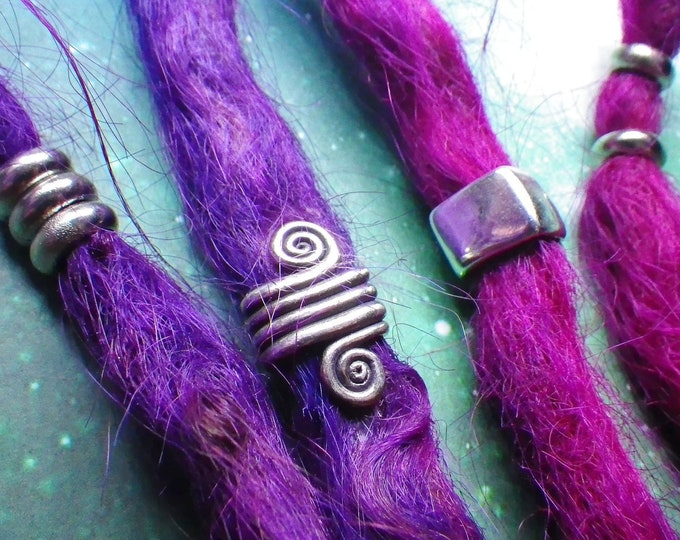 Silver Spiral Dread bead set, 2 Spiral + 6 rings