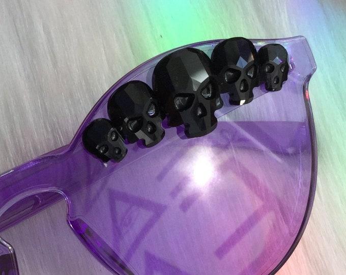 Purple Goth Sunglasses, featuring Black Rhinestone Swarovski® Components, festival eyewear, Zero UV protection