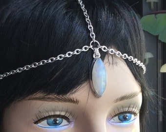 Rainbow Moonstone Head Chain Circlet, Third Eye, Meditation Reiki