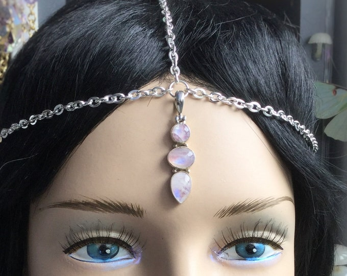 Pink Rainbow Moonstone Silver chain head chain circlet, bridal head wear, meditation, ceremony