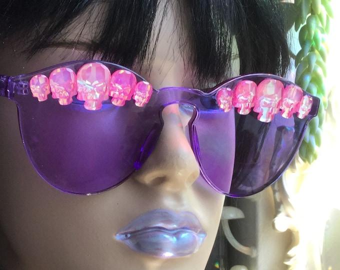 Pink Skull Festival Sunglasses, Rhinestone Swarovski® Components