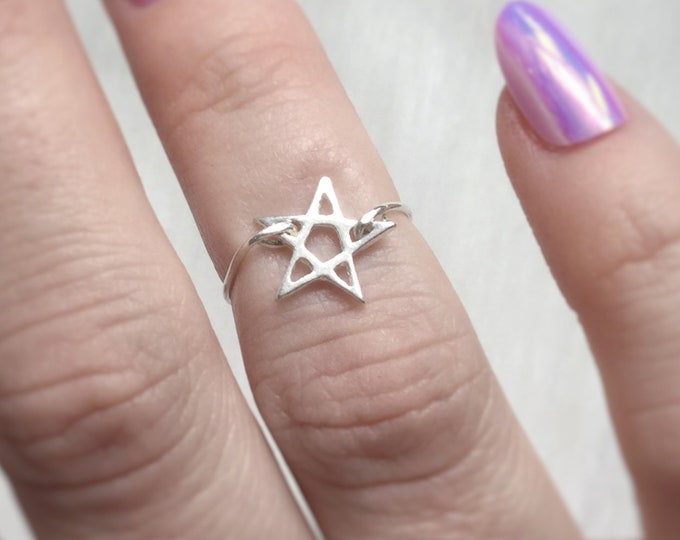 Pentagram Midi Ring or regular size, above the knuckle ring sterling silver