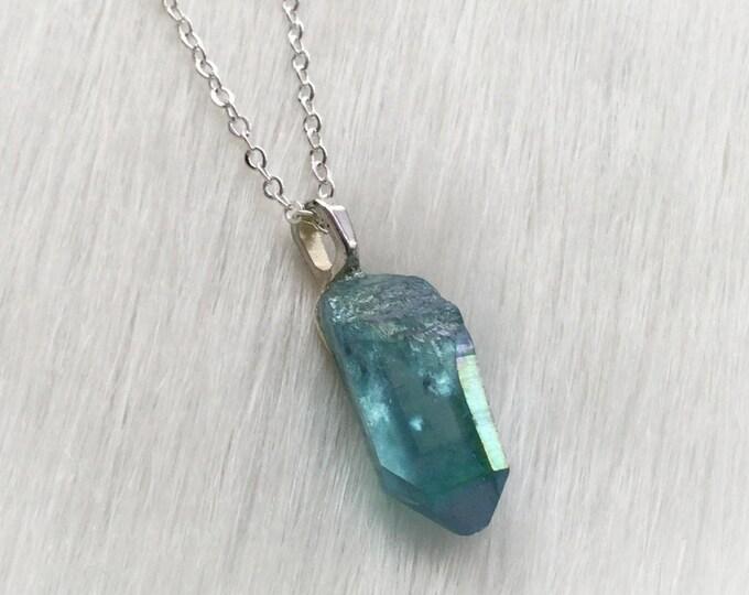 Aqua Aura Raw Crystal necklace, Aura coated Quartz Crystal necklace, crystal point, gemstone, treated quartz