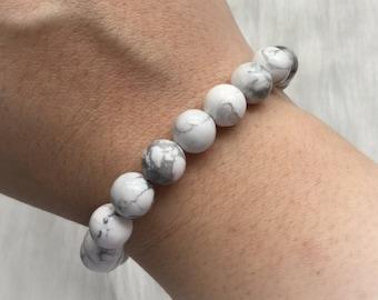 SALE Howlite stretch gemstone bracelet, boho, bohemian, reiki healing beaded bracelet