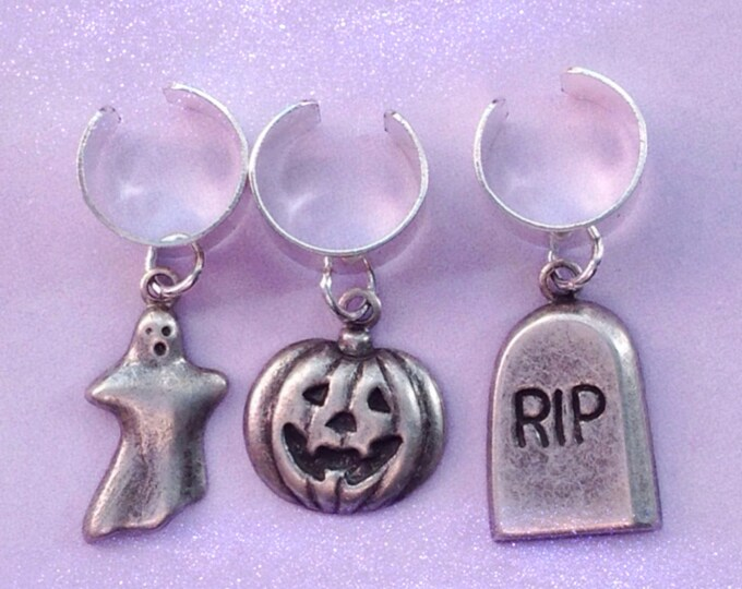 Halloween Earcuff Pumpkin, Ghost Tombstone jewelry