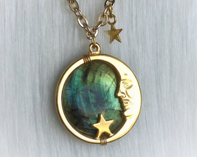 Gold Labradorite Moon necklace Man in the Moon vintage style