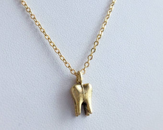Gold Tooth Necklace, 3D tooth, also available in silver