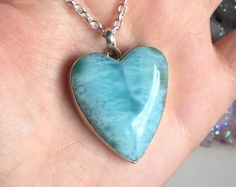 XL Larimar Heart necklace, sterling filled or silver plated chain