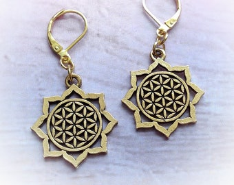 Flower of Life Mandala Sacred Geometry earrings