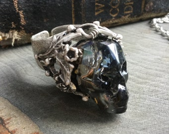 Hexxus Crystal Skull ring, made with Black Swarovski® Crystal skull, Gothic, Witch ring, adjustable brass band