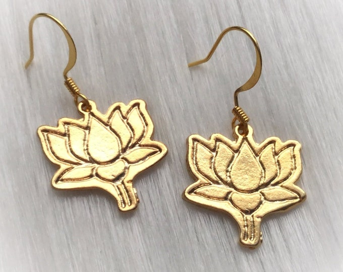 Lotus Blossom Earrings, Gold Flowers, sold per pair (leave qty as 1)
