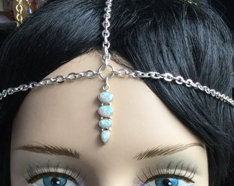 Opal Head Chain Circlet, Simple crown, Wedding head wear, meditation, reiki healing