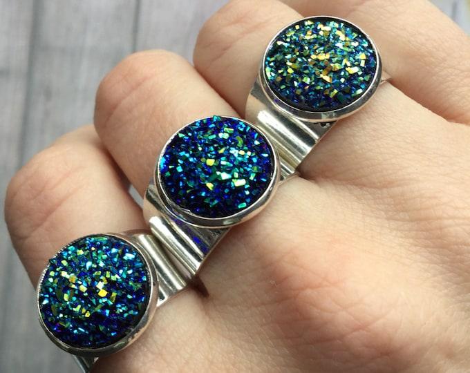 SALE Druzy ring, Titanium flame aura finish, faux gemstone, adjustable ring