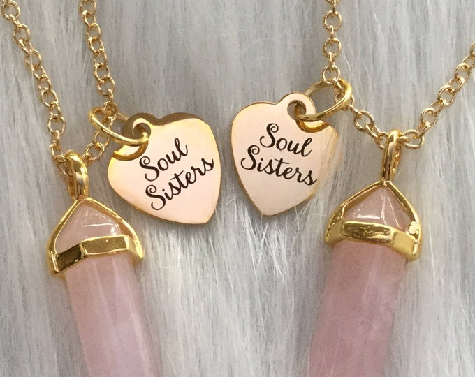 Soul Sisters Gold Crystal necklace set of two, YOU CHOOSE your Gemstone, Gold tone Best Friends Forever