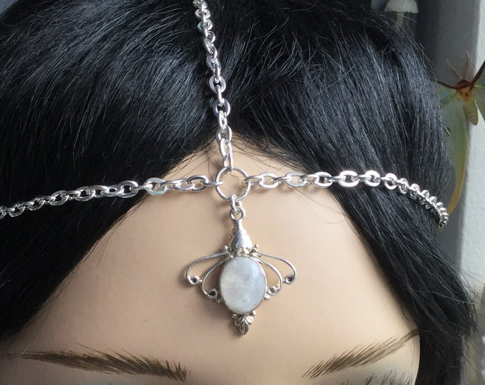 Rainbow Moonstone Head Chain Circlet, Wedding headchain