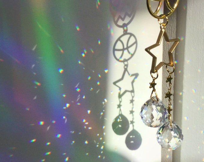 Moon and Star Zodiac Suncatcher, Double Crystal ball prisms