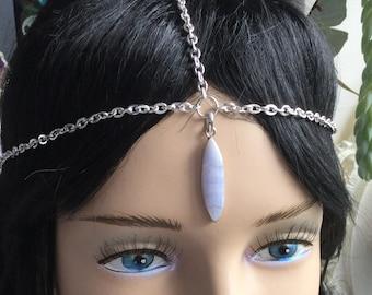 Blue Lace Agate Head Chain