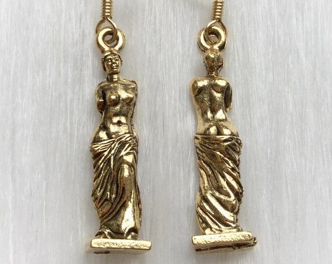 Venus de Milo Statue Art earrings in silver pewter or gold plated, gift idea, artist,