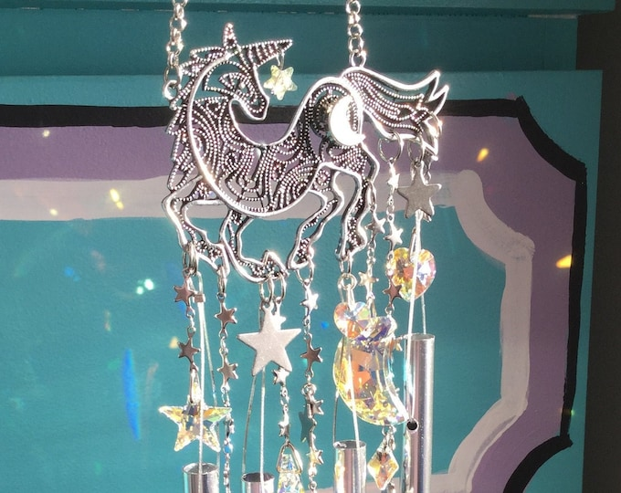 Unicorn Suncatcher Wind chime Moon and Stars Crystal Suncatcher Rainbow maker