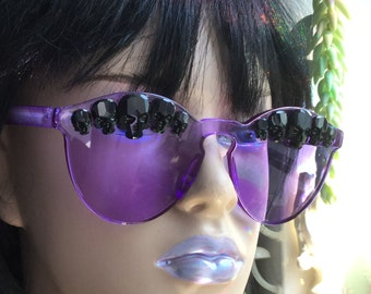 Purple Sunglasses, featuring Black Rhinestone Swarovski® Components