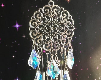 Mandala Filigree Suncatcher Wind chime with Baroque glass AB