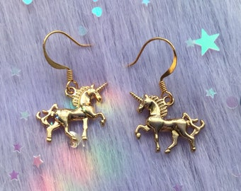 Gold Unicorn earrings, clip on or pierced hooks, sold per pair (leave qty as 1)