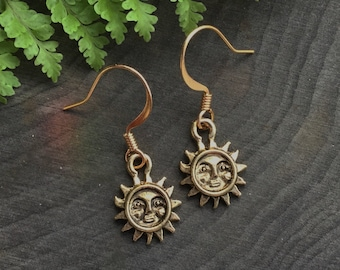 Gold Sun face earrings, dainty small earrings, sold per pair (leave qty as 1) clip on or piercing