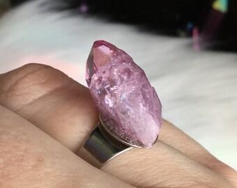Rose Aura Druzy, crystal cluster ring, Raspberry Aura