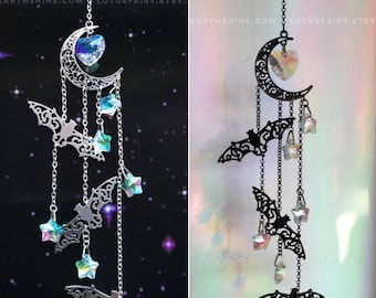Bat Crystal Sun catcher, Halloween Suncatcher, AB crystal prism mobile, available in Black, Silver or Gold